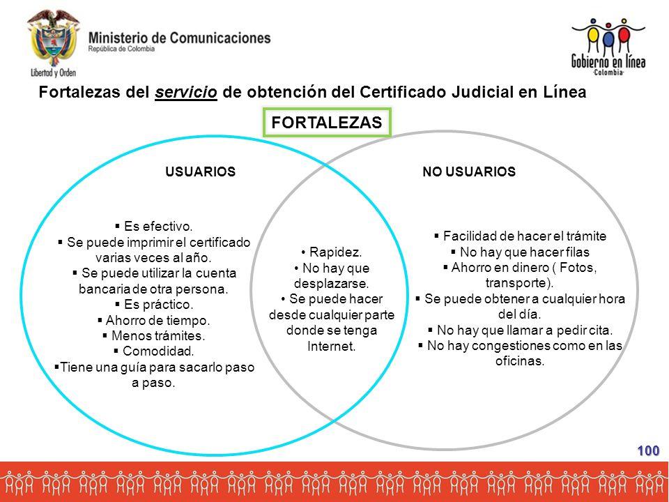 Fortalezas del servicio de obtención del Certificado Judicial en Línea FORTALEZAS USUARIOS NO USUARIOS Rapidez.