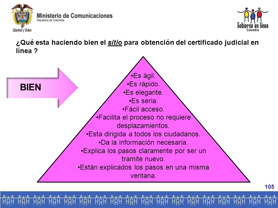 ¿Qué esta haciendo bien el sitio para obtención del certificado judicial en línea .