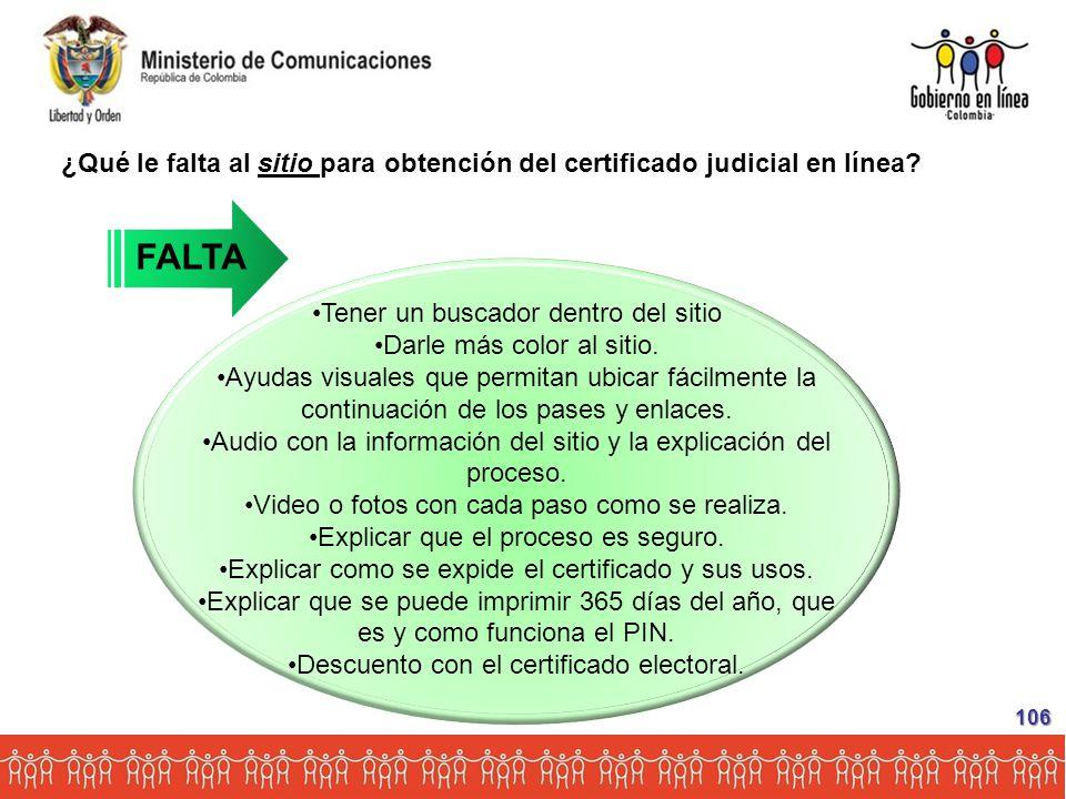 ¿Qué le falta al sitio para obtención del certificado judicial en línea.