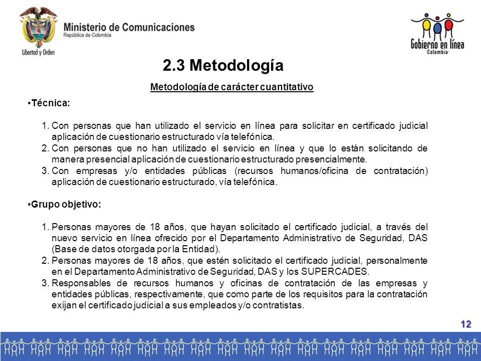 2.3 Metodología Técnica: 1.Con personas que han utilizado el servicio en línea para solicitar en certificado judicial aplicación de cuestionario estructurado vía telefónica.