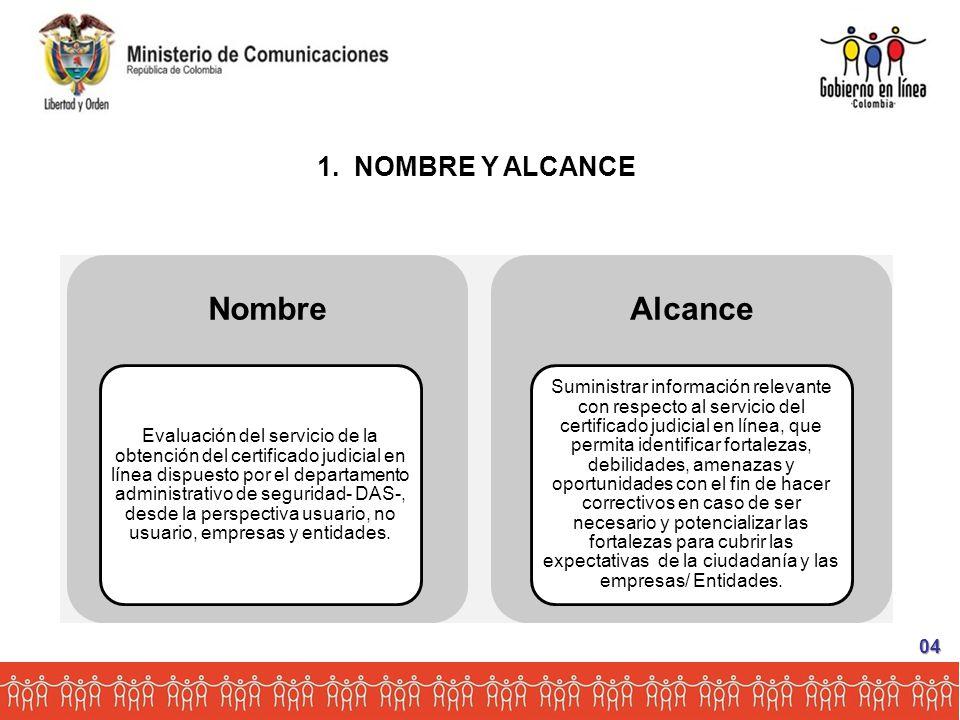 Nombre Evaluación del servicio de la obtención del certificado judicial en línea dispuesto por el departamento administrativo de seguridad- DAS-, desde la perspectiva usuario, no usuario, empresas y entidades.