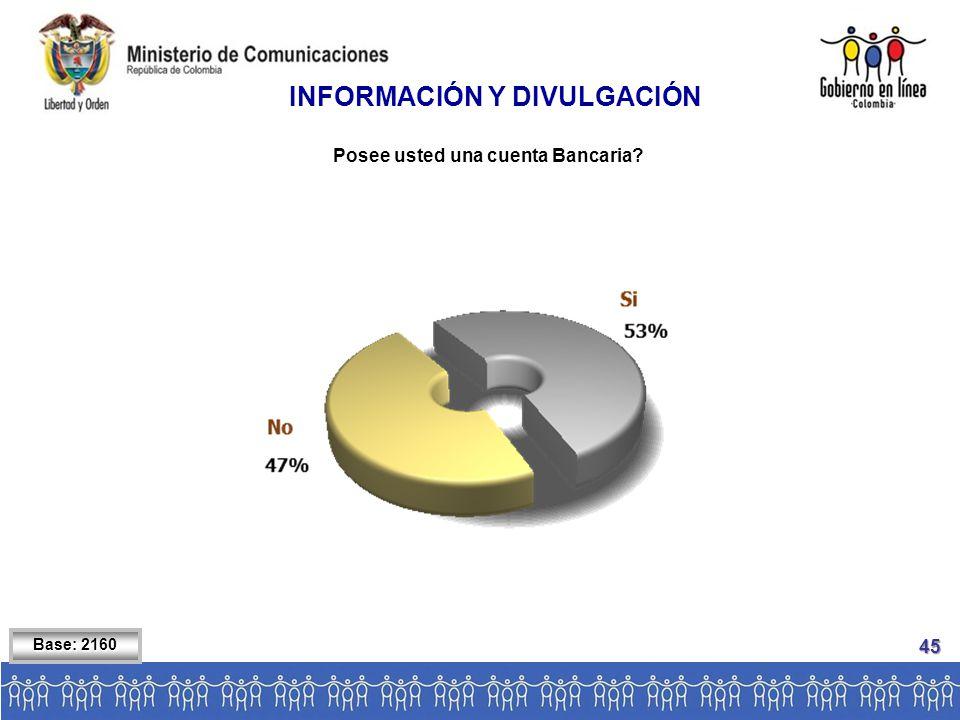 Base: 2160 INFORMACIÓN Y DIVULGACIÓN Posee usted una cuenta Bancaria 45