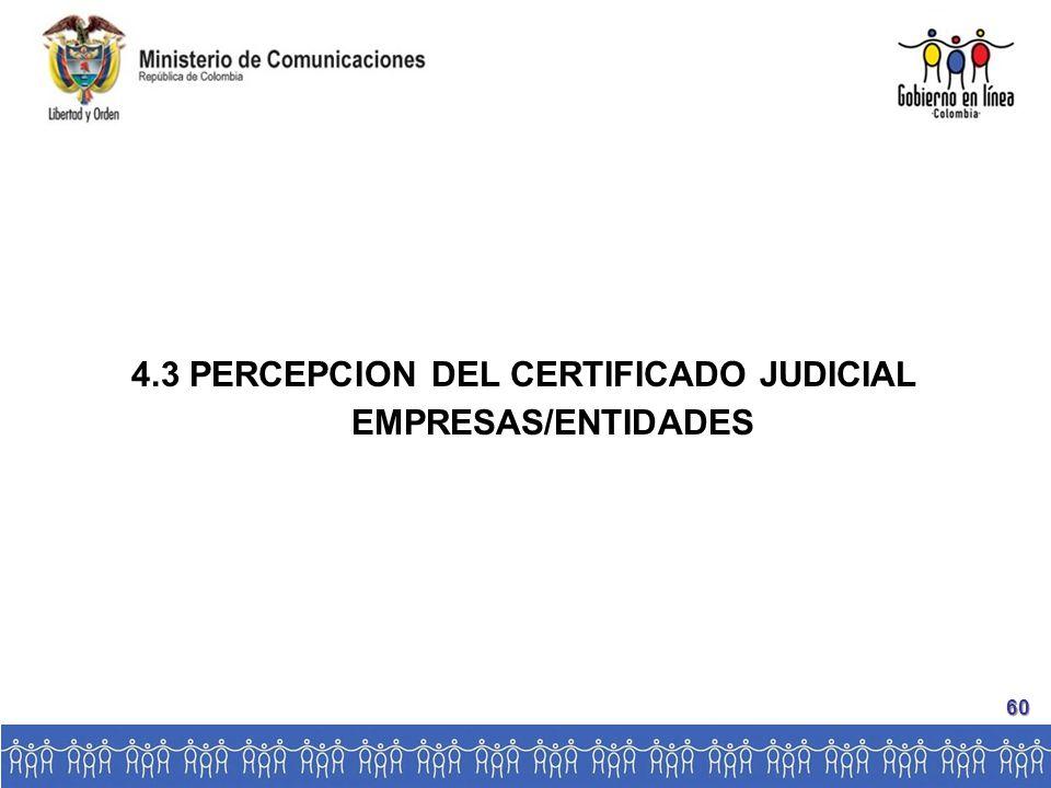 4.3 PERCEPCION DEL CERTIFICADO JUDICIAL EMPRESAS/ENTIDADES 60
