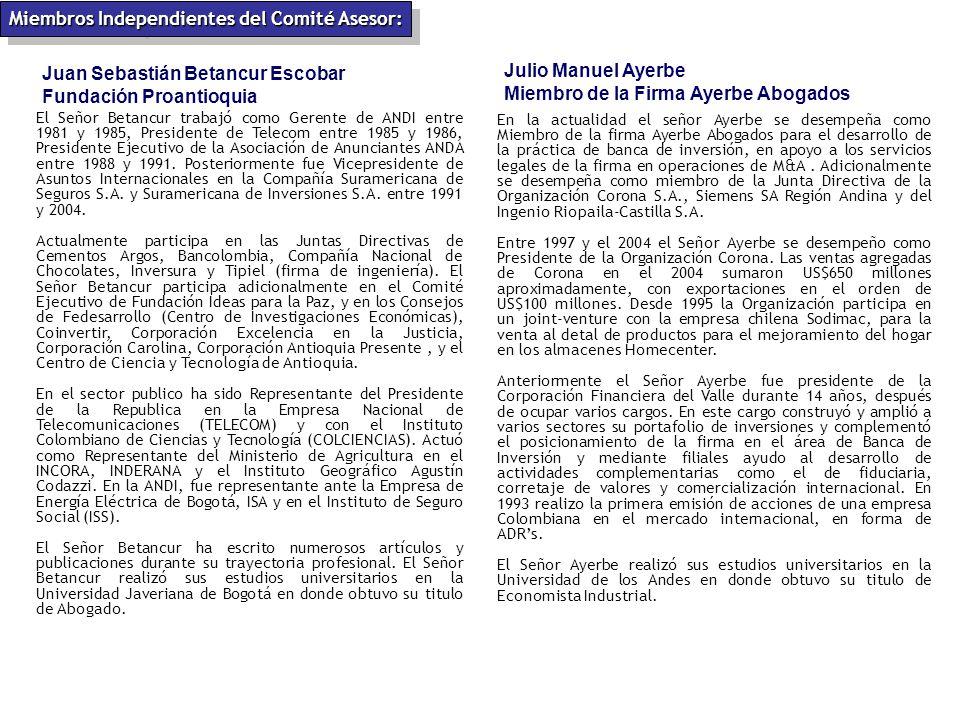 Juan Sebastián Betancur Escobar Fundación Proantioquia El Señor Betancur trabajó como Gerente de ANDI entre 1981 y 1985, Presidente de Telecom entre 1985 y 1986, Presidente Ejecutivo de la Asociación de Anunciantes ANDA entre 1988 y 1991.