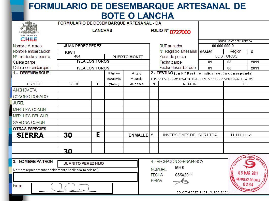 JUAN PEREZ PEREZ 99.999.999-9 KIWI I 923459 X 464 PUERTO MONTT LOS TOROS ISLA LOS TOROS 01 03 2011 ISLA LOS TOROS 01 03 2011 ENMALLE INVERSIONES DEL SUR LTDA.11.111.111-1 JUANITO PEREZ HIJO FORMULARIO DE DESEMBARQUE ARTESANAL DE BOTE O LANCHA 2 MHS 03/3/2011 SIERRA30 E