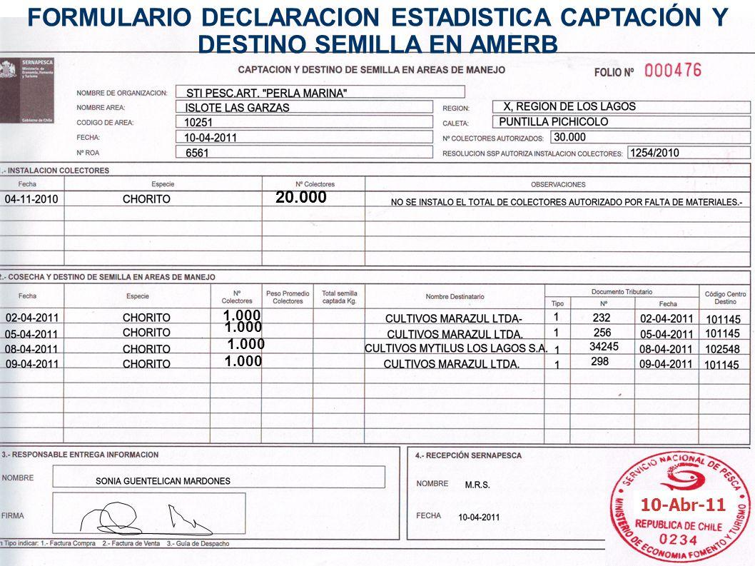 FORMULARIO DECLARACION ESTADISTICA CAPTACIÓN Y DESTINO SEMILLA EN AMERB 20.000 1.000 10-Abr-11