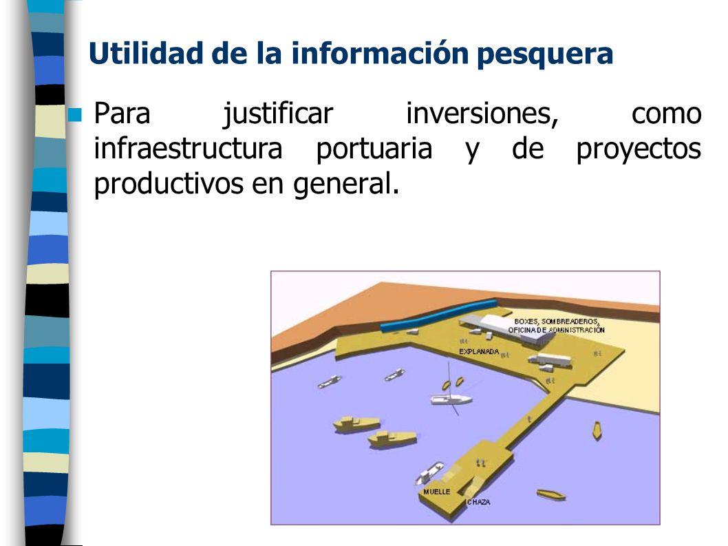 Utilidad de la información pesquera Para justificar inversiones, como infraestructura portuaria y de proyectos productivos en general.