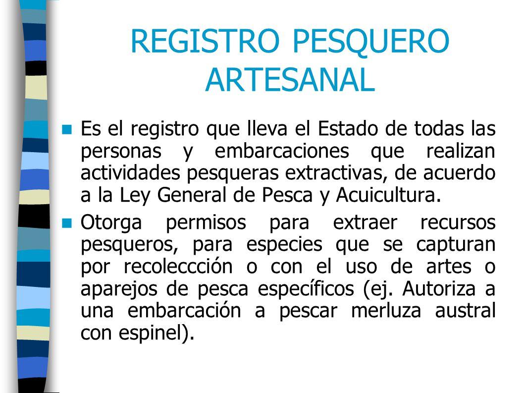 REGISTRO PESQUERO ARTESANAL Es el registro que lleva el Estado de todas las personas y embarcaciones que realizan actividades pesqueras extractivas, de acuerdo a la Ley General de Pesca y Acuicultura.