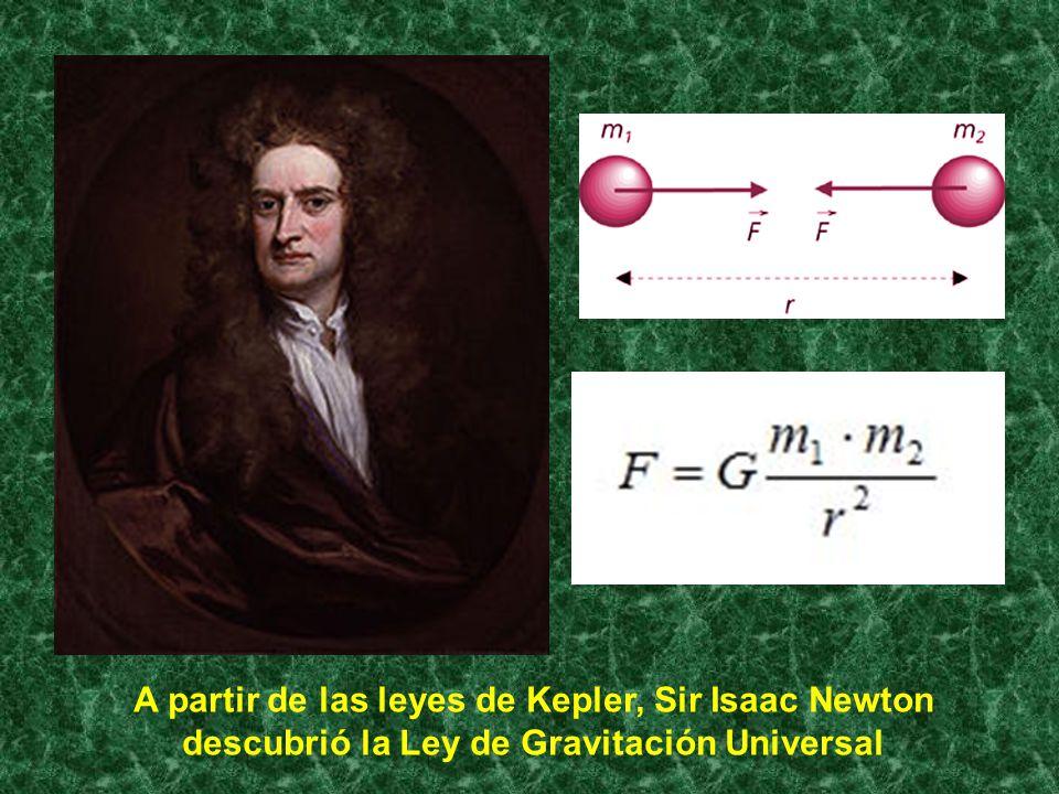 A partir de las leyes de Kepler, Sir Isaac Newton descubrió la Ley de Gravitación Universal