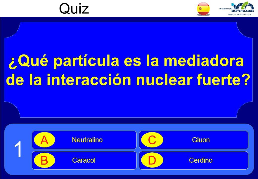 Quiz ¿Qué partícula es la mediadora de la interacción nuclear fuerte.