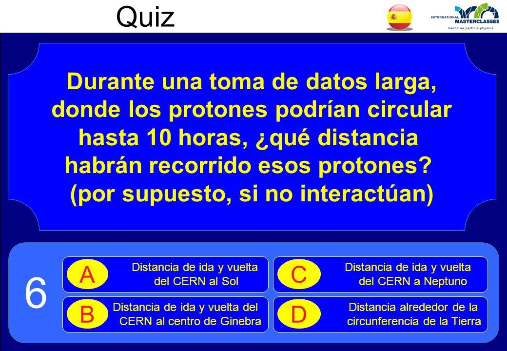 Quiz Durante una toma de datos larga, donde los protones podrían circular hasta 10 horas, ¿qué distancia habrán recorrido esos protones.
