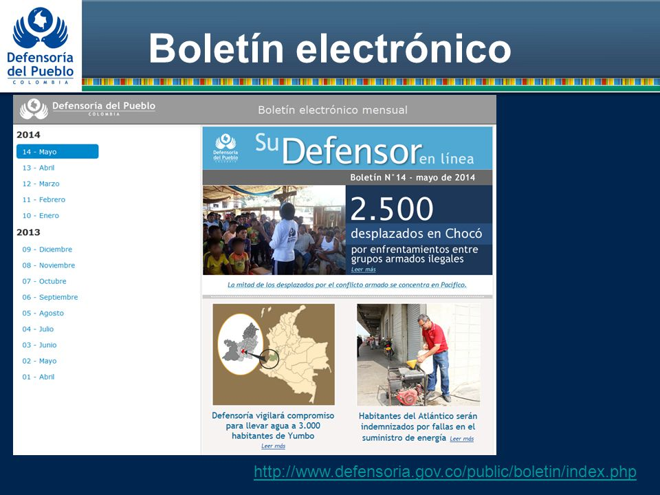 Boletín electrónico http://www.defensoria.gov.co/public/boletin/index.php