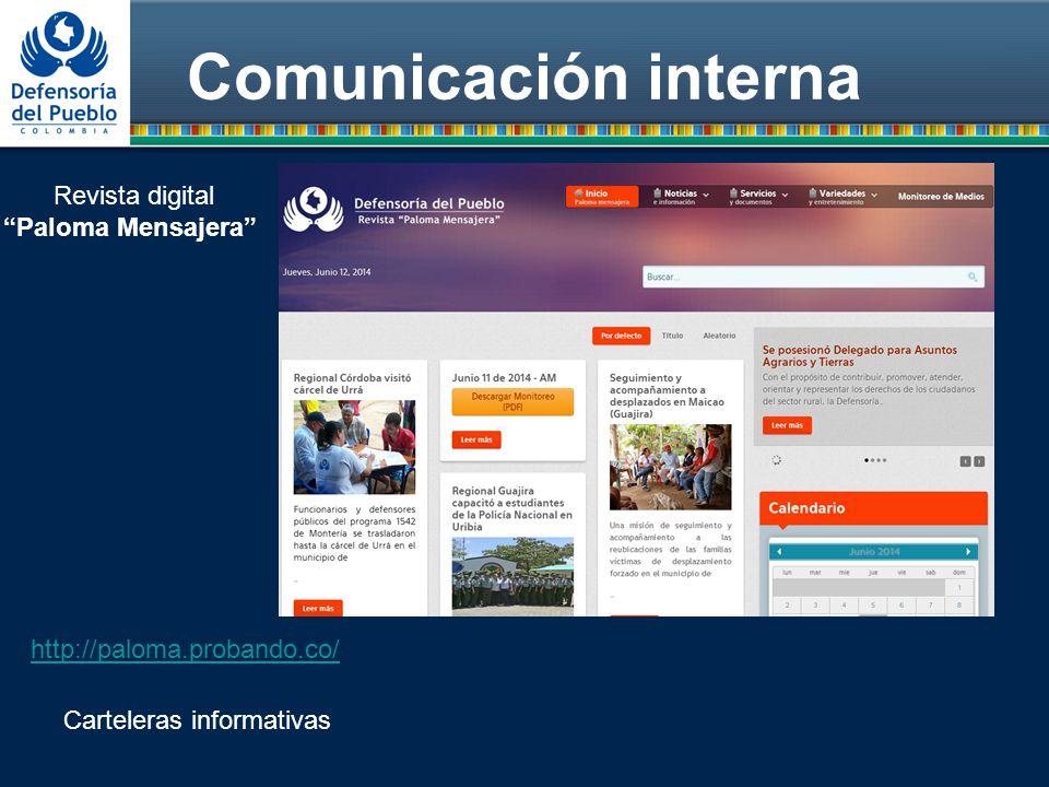 Comunicación interna Revista digital Paloma Mensajera http://paloma.probando.co/ Carteleras informativas