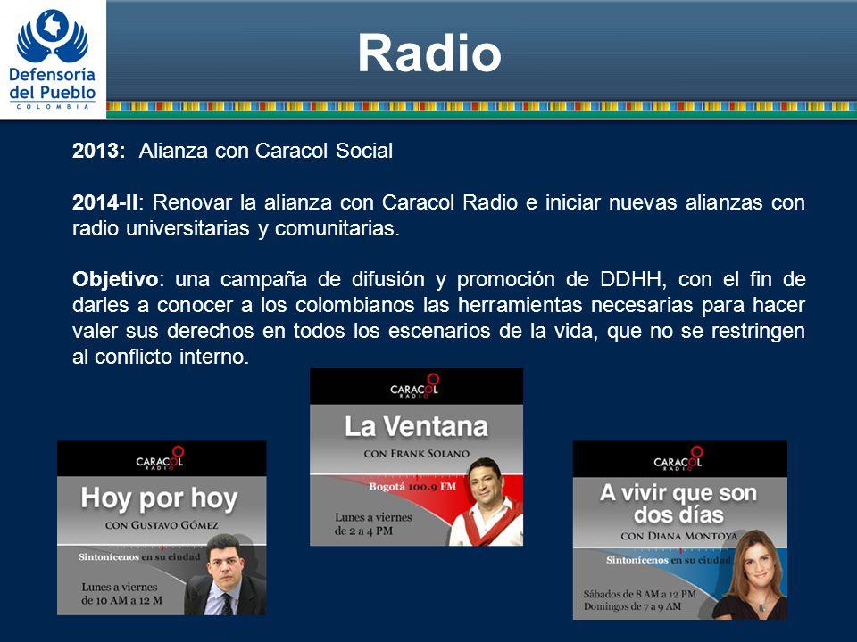Radio 2013: Alianza con Caracol Social 2014-II: Renovar la alianza con Caracol Radio e iniciar nuevas alianzas con radio universitarias y comunitarias.
