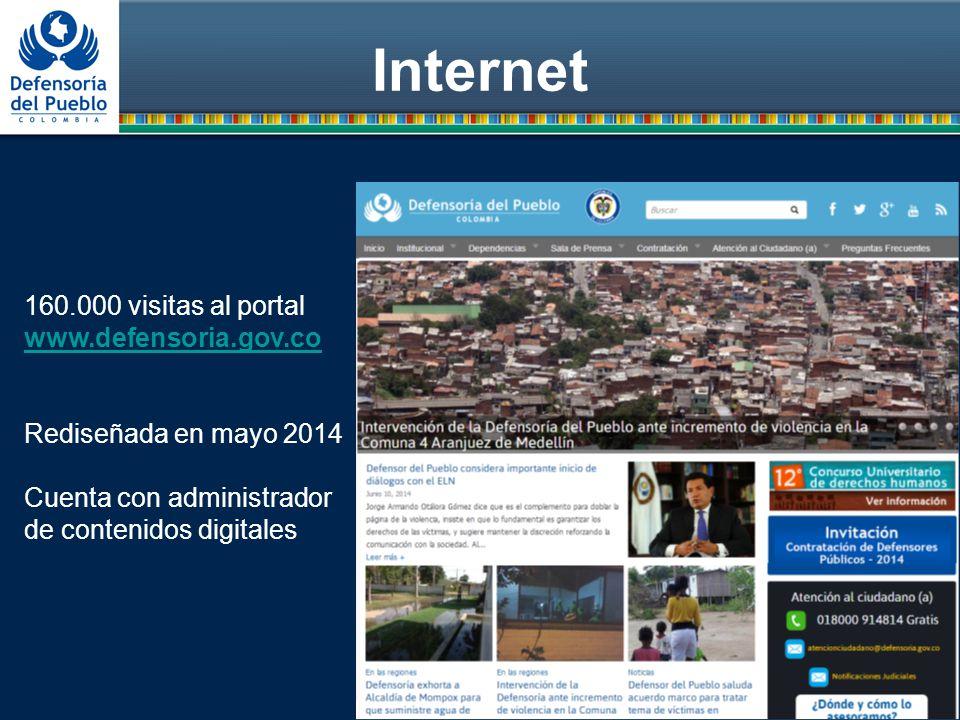 Internet 160.000 visitas al portal www.defensoria.gov.co Rediseñada en mayo 2014 Cuenta con administrador de contenidos digitales