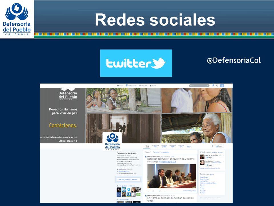 Redes sociales @DefensoriaCol