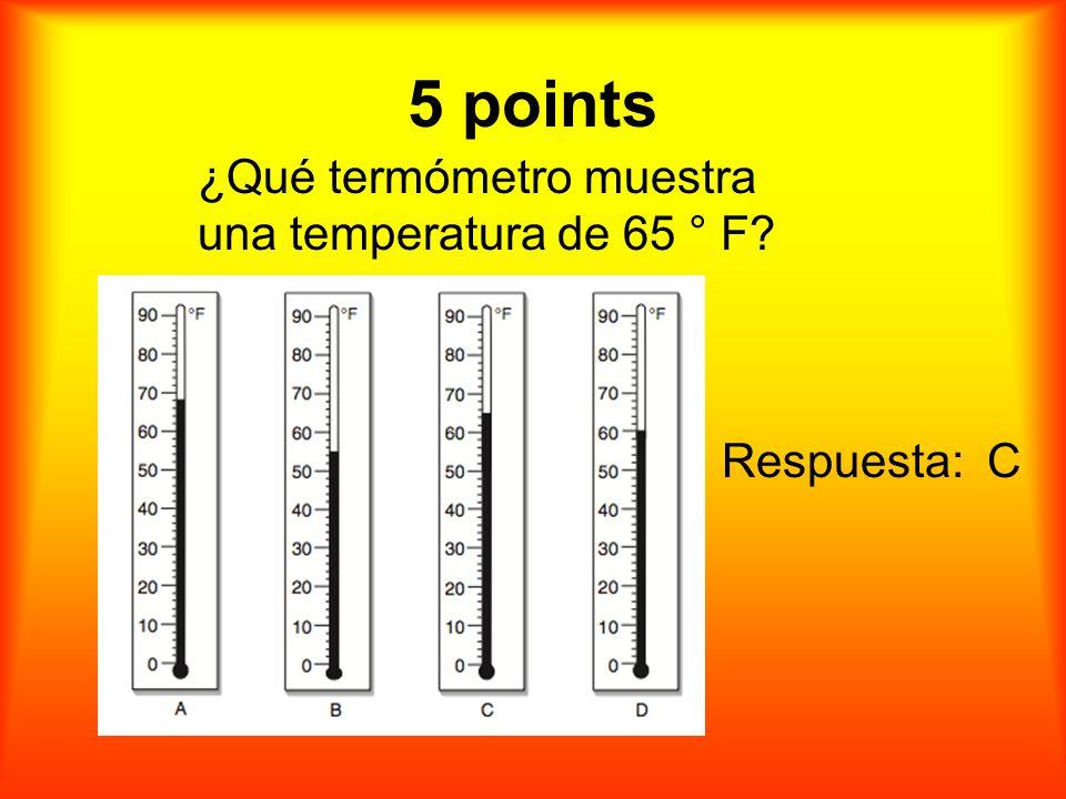 5 puntos ¿Qué termómetro muestra una temperatura de 65 ° F