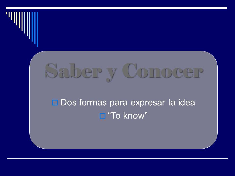 Saber y Conocer  Dos formas para expresar la idea  To know