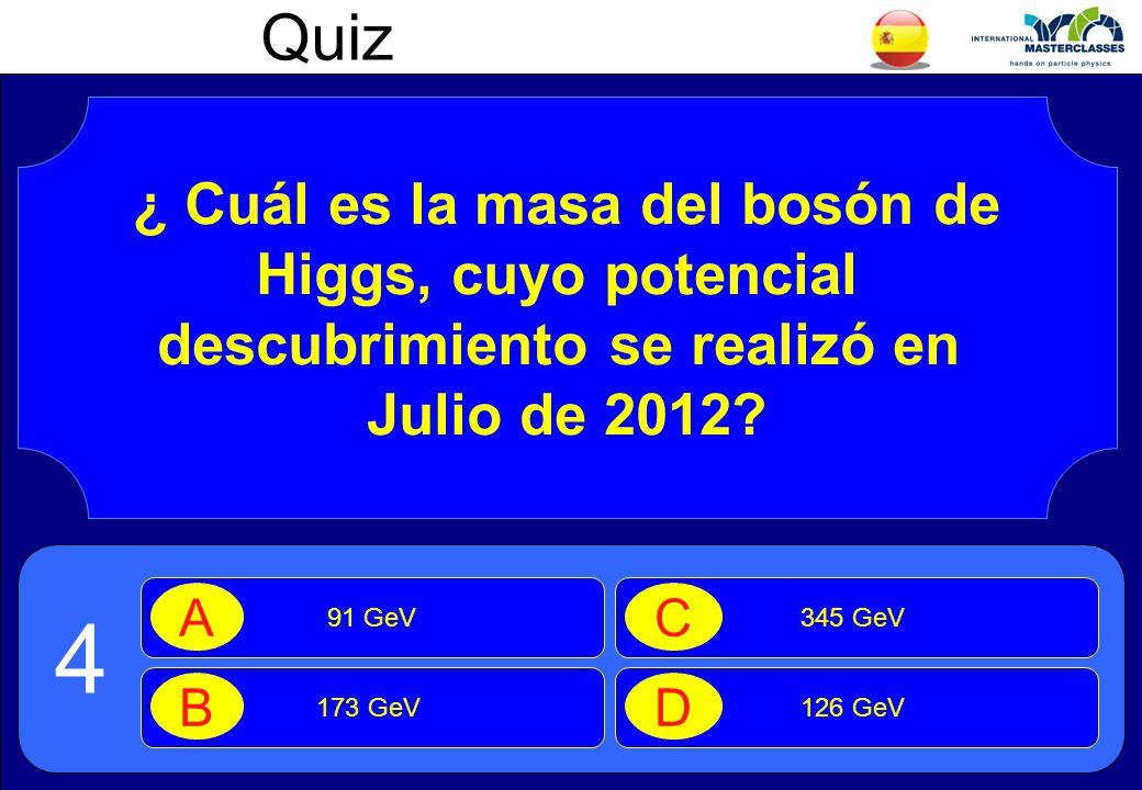 Quiz ¿ Cuál es la masa del bosón de Higgs, cuyo potencial descubrimiento se realizó en Julio de 2012.