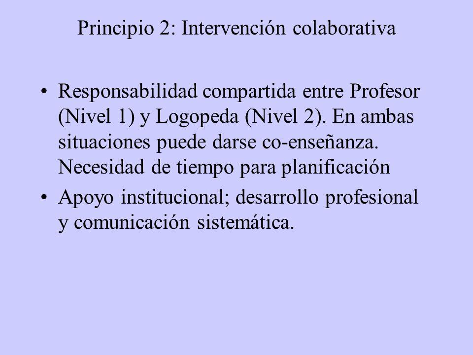 Principio 2: Intervención colaborativa Responsabilidad compartida entre Profesor (Nivel 1) y Logopeda (Nivel 2).