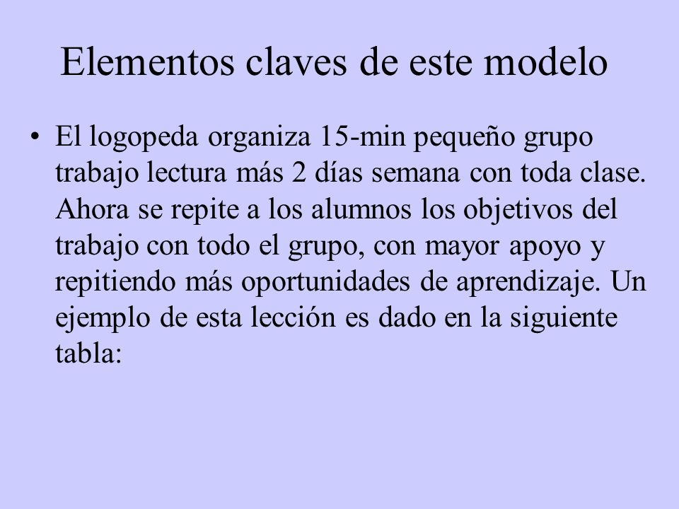 Elementos claves de este modelo El logopeda organiza 15-min pequeño grupo trabajo lectura más 2 días semana con toda clase.