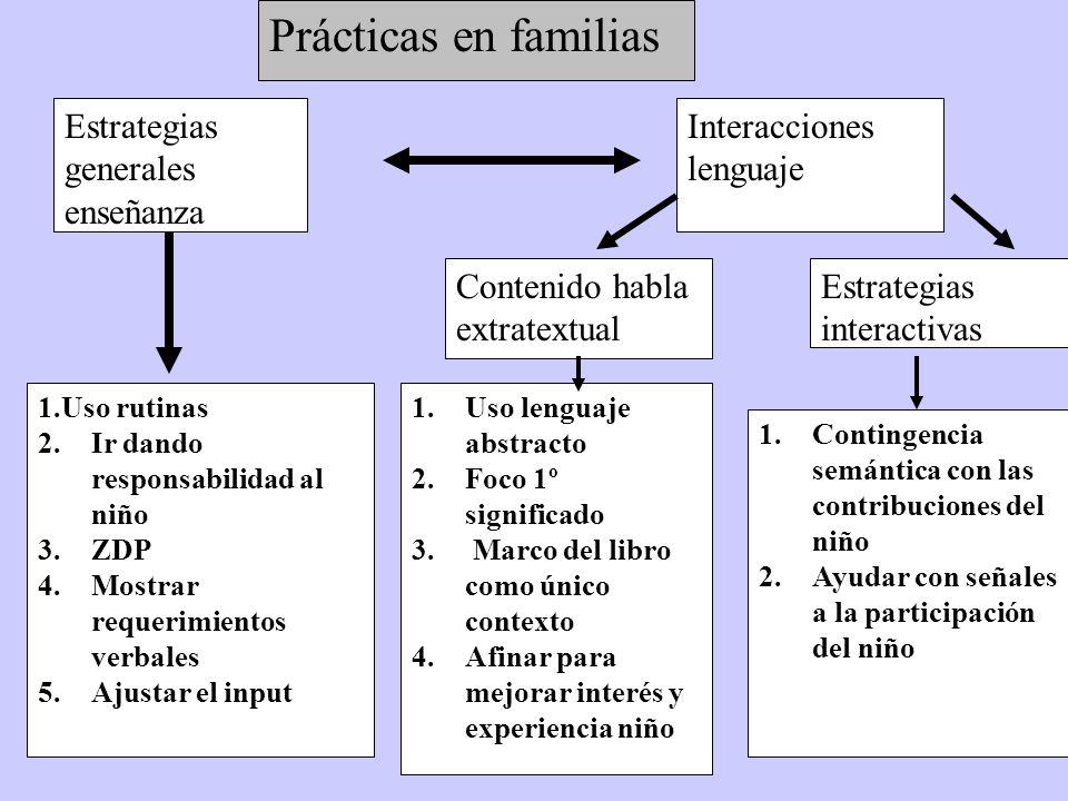Prácticas en familias Estrategias generales enseñanza Interacciones lenguaje 1.Uso rutinas 2.Ir dando responsabilidad al niño 3.ZDP 4.Mostrar requerimientos verbales 5.Ajustar el input 1.Uso lenguaje abstracto 2.Foco 1º significado 3.