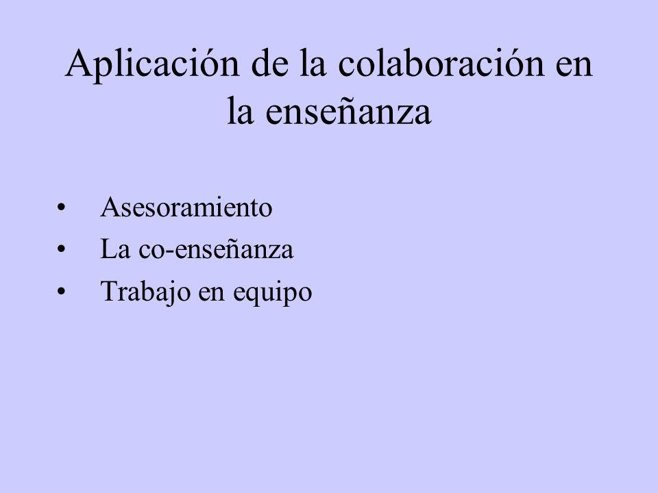 Aplicación de la colaboración en la enseñanza Asesoramiento La co-enseñanza Trabajo en equipo