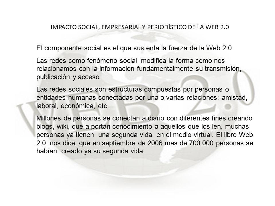 IMPACTO SOCIAL, EMPRESARIAL Y PERIODÍSTICO DE LA WEB 2.0 El componente social es el que sustenta la fuerza de la Web 2.0 Las redes como fenómeno social modifica la forma como nos relacionamos con la información fundamentalmente su transmisión, publicación y acceso.