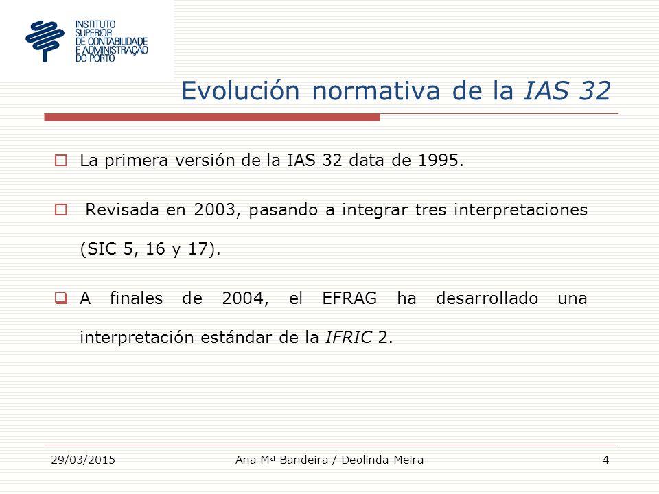 Evolución normativa de la IAS 32  La primera versión de la IAS 32 data de 1995.