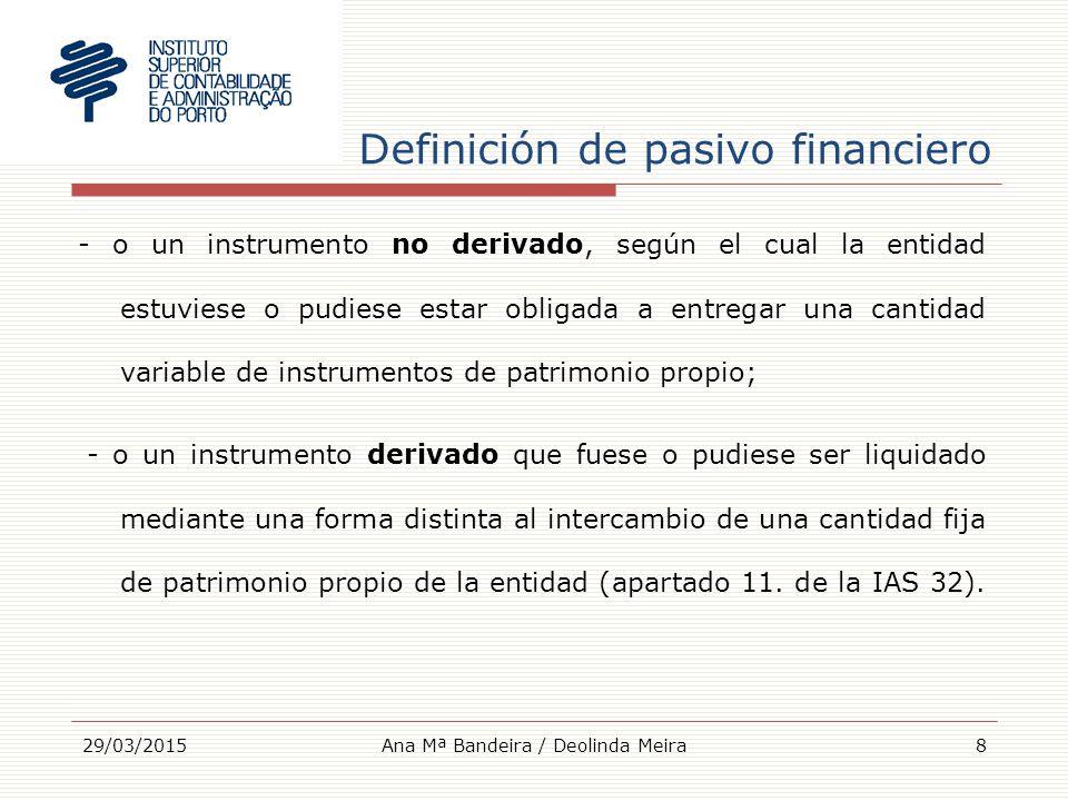 Definición de pasivo financiero - o un instrumento no derivado, según el cual la entidad estuviese o pudiese estar obligada a entregar una cantidad variable de instrumentos de patrimonio propio; - o un instrumento derivado que fuese o pudiese ser liquidado mediante una forma distinta al intercambio de una cantidad fija de patrimonio propio de la entidad (apartado 11.
