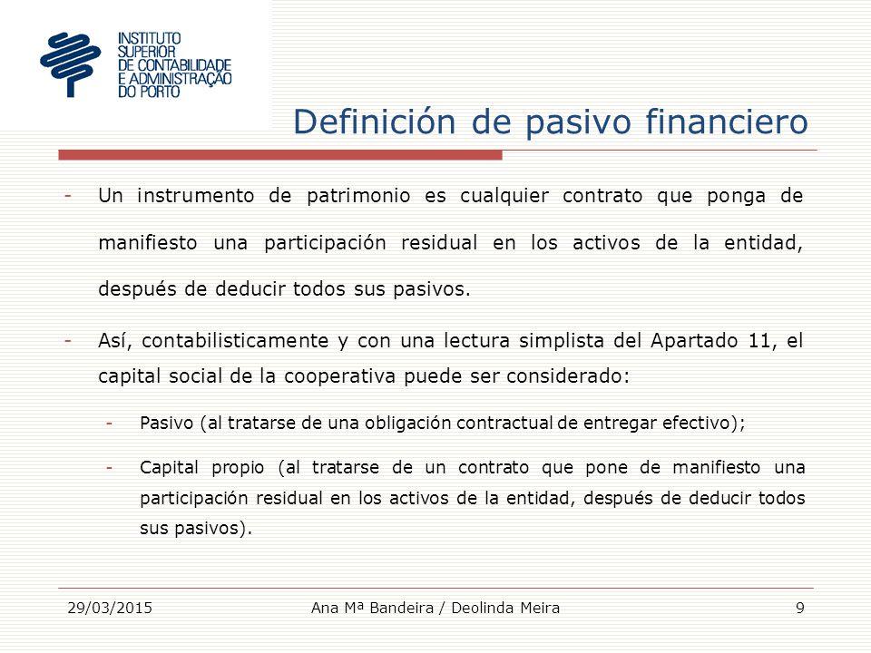 Definición de pasivo financiero -Un instrumento de patrimonio es cualquier contrato que ponga de manifiesto una participación residual en los activos de la entidad, después de deducir todos sus pasivos.