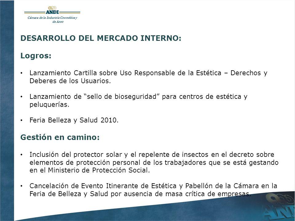 DESARROLLO DEL MERCADO INTERNO: Logros: Lanzamiento Cartilla sobre Uso Responsable de la Estética – Derechos y Deberes de los Usuarios.