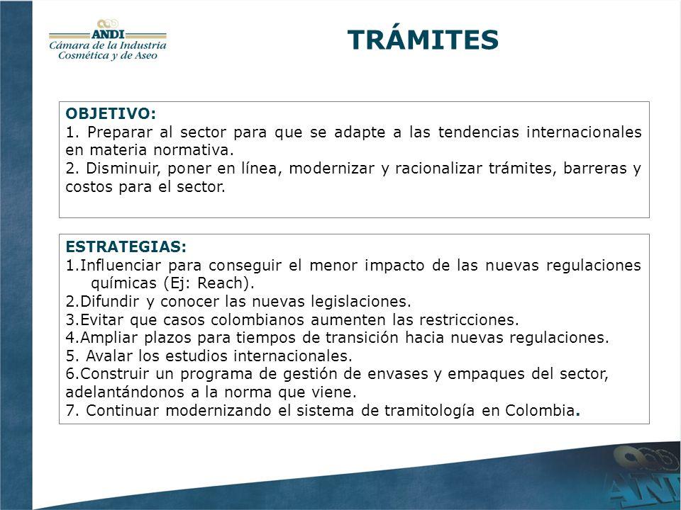 ESTRATEGIAS: 1.Influenciar para conseguir el menor impacto de las nuevas regulaciones químicas (Ej: Reach).