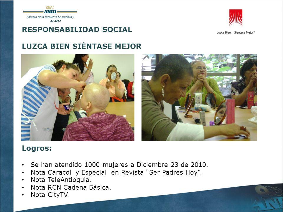 Cámara de la Industria Cosmética y de Aseo RESPONSABILIDAD SOCIAL LUZCA BIEN SIÉNTASE MEJOR Logros: Se han atendido 1000 mujeres a Diciembre 23 de 2010.