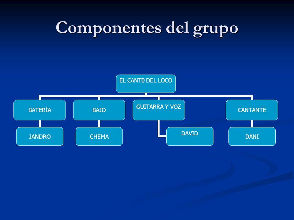 Componentes del grupo EL CANT0 DEL LOCO BATERÍA JANDRO BAJO CHEMA GUITARRA Y VOZ DAVID CANTANTE DANI