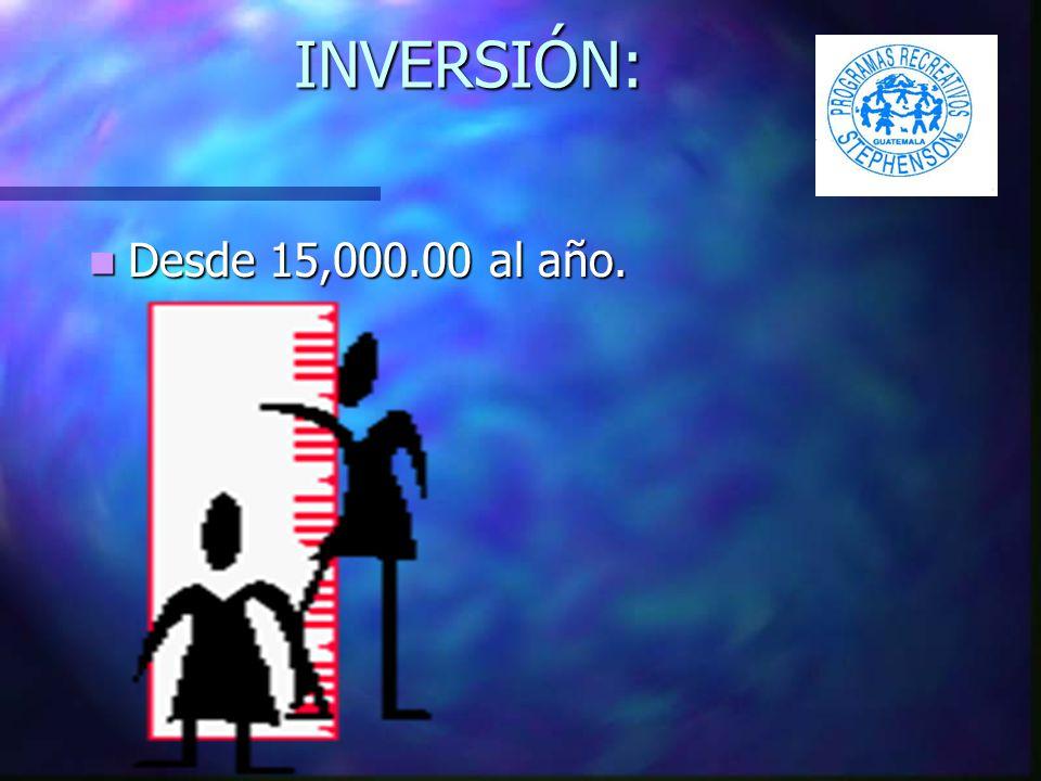 INVERSIÓN: Desde 15,000.00 al año. Desde 15,000.00 al año.