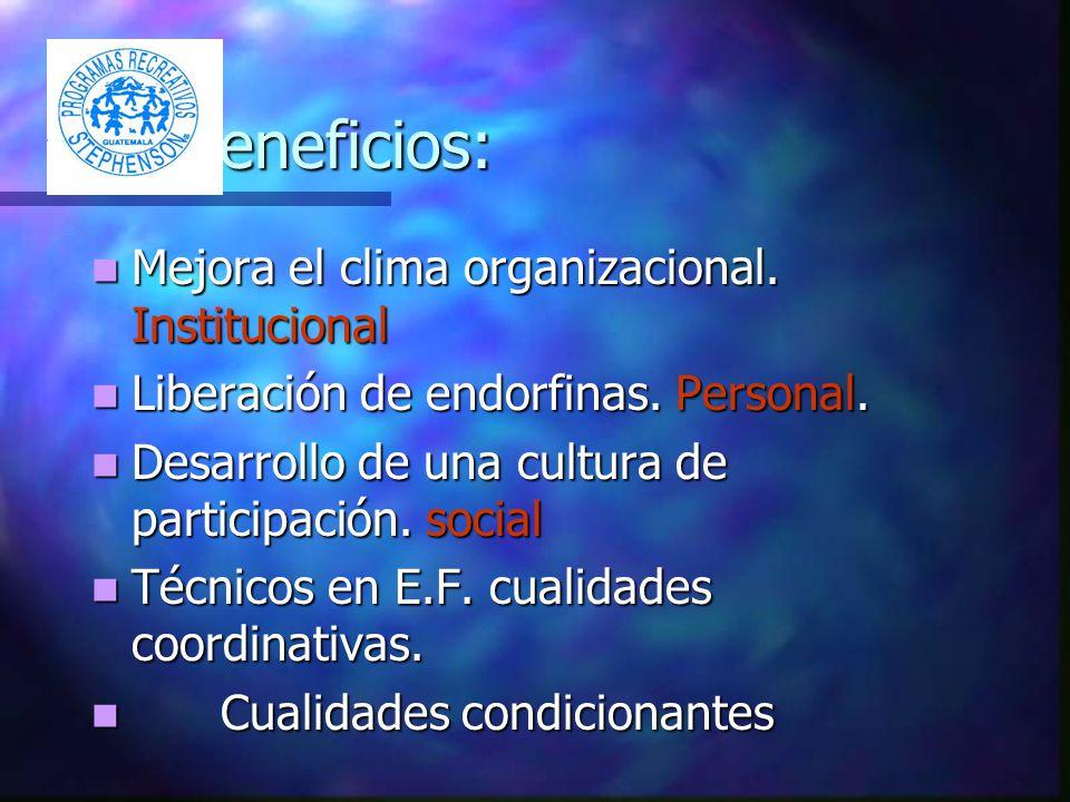 Beneficios: Mejora el clima organizacional. Institucional Mejora el clima organizacional.