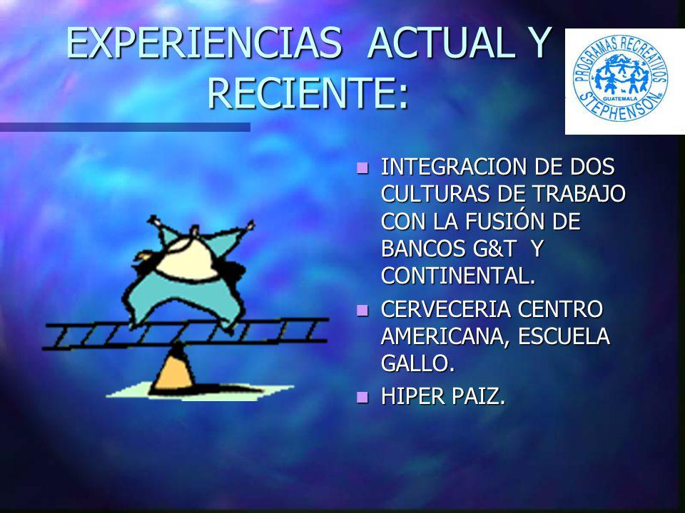 EXPERIENCIAS ACTUAL Y RECIENTE: INTEGRACION DE DOS CULTURAS DE TRABAJO CON LA FUSIÓN DE BANCOS G&T Y CONTINENTAL.