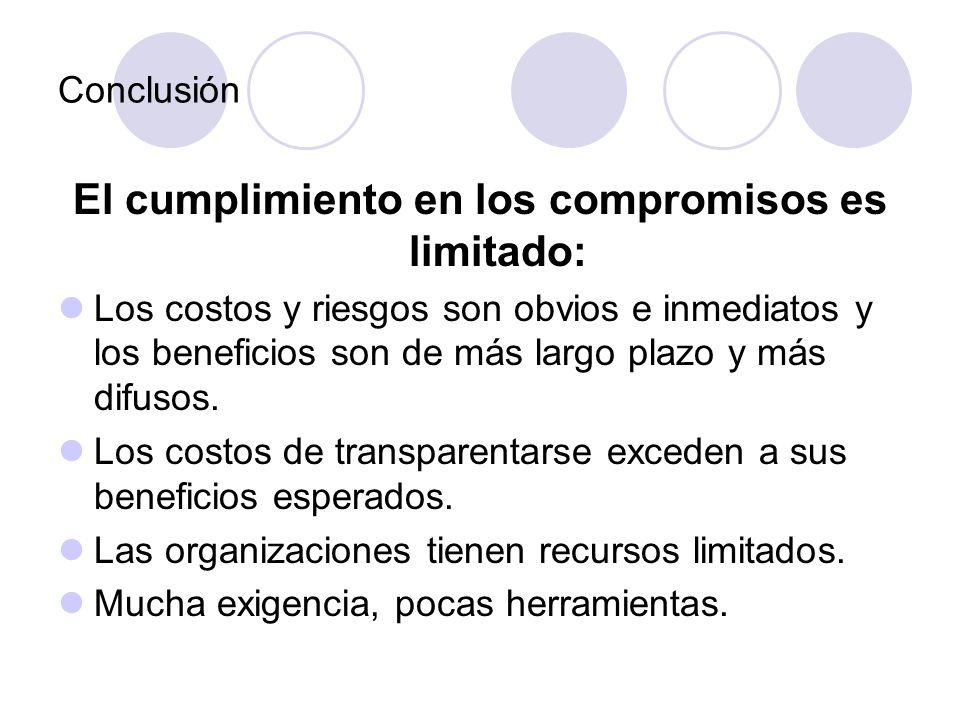 Conclusión El cumplimiento en los compromisos es limitado: Los costos y riesgos son obvios e inmediatos y los beneficios son de más largo plazo y más difusos.