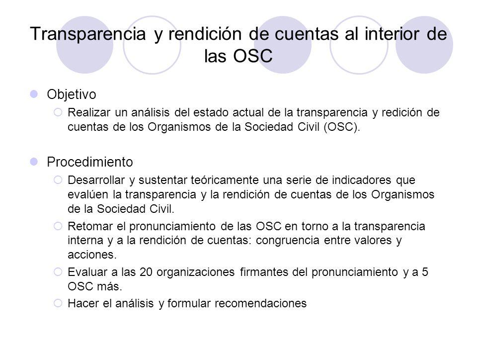 Transparencia y rendición de cuentas al interior de las OSC Objetivo  Realizar un análisis del estado actual de la transparencia y redición de cuentas de los Organismos de la Sociedad Civil (OSC).