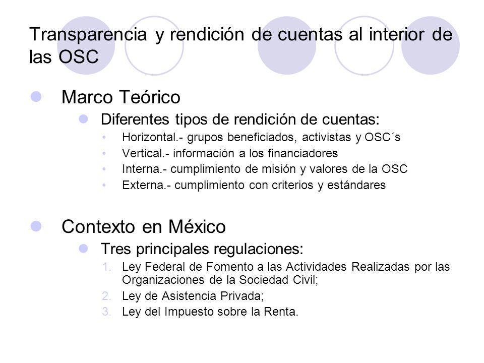 Transparencia y rendición de cuentas al interior de las OSC Marco Teórico Diferentes tipos de rendición de cuentas: Horizontal.- grupos beneficiados, activistas y OSC´s Vertical.- información a los financiadores Interna.- cumplimiento de misión y valores de la OSC Externa.- cumplimiento con criterios y estándares Contexto en México Tres principales regulaciones: 1.Ley Federal de Fomento a las Actividades Realizadas por las Organizaciones de la Sociedad Civil; 2.Ley de Asistencia Privada; 3.Ley del Impuesto sobre la Renta.