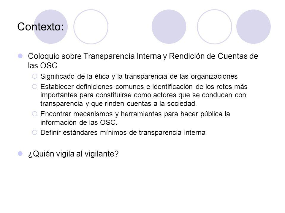 Contexto: Coloquio sobre Transparencia Interna y Rendición de Cuentas de las OSC  Significado de la ética y la transparencia de las organizaciones  Establecer definiciones comunes e identificación de los retos más importantes para constituirse como actores que se conducen con transparencia y que rinden cuentas a la sociedad.