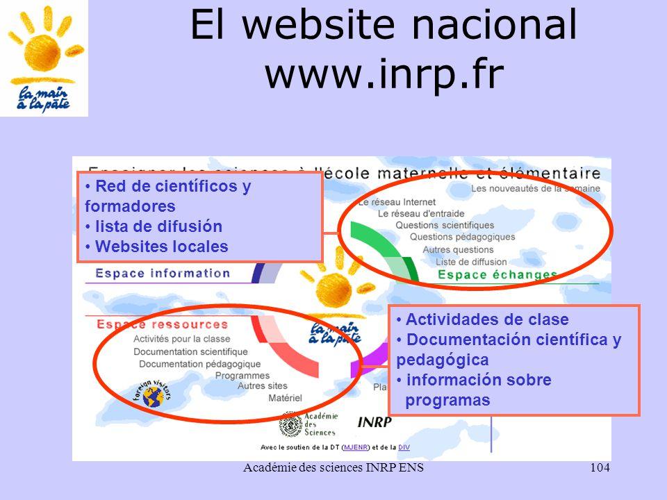 Académie des sciences INRP ENS104 Actividades de clase Documentación científica y pedagógica información sobre programas Red de científicos y formadores lista de difusión Websites locales El website nacional www.inrp.fr