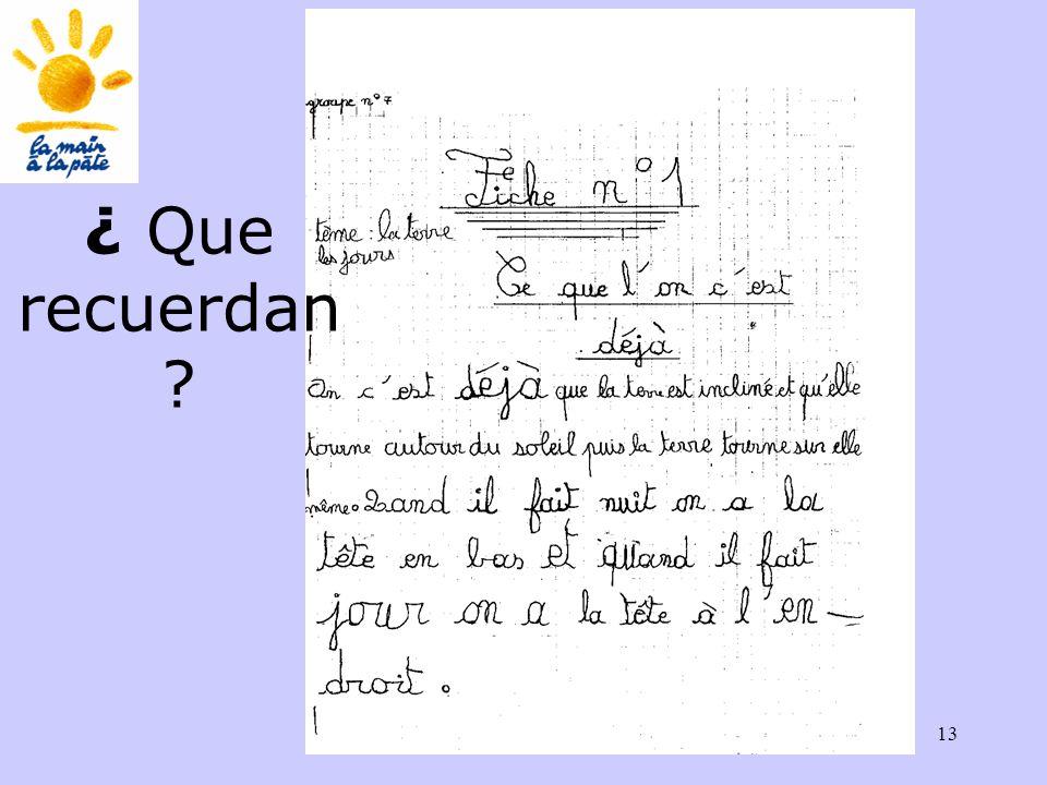 Académie des sciences INRP ENS13 ¿ Que recuerdan