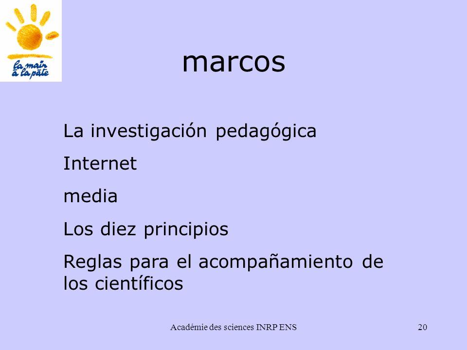 Académie des sciences INRP ENS20 marcos La investigación pedagógica Internet media Los diez principios Reglas para el acompañamiento de los científicos
