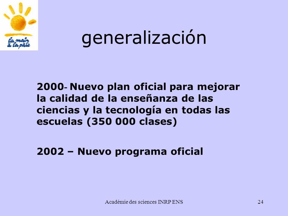 Académie des sciences INRP ENS24 generalización 2000 - Nuevo plan oficial para mejorar la calidad de la enseñanza de las ciencias y la tecnología en todas las escuelas (350 000 clases) 2002 – Nuevo programa oficial