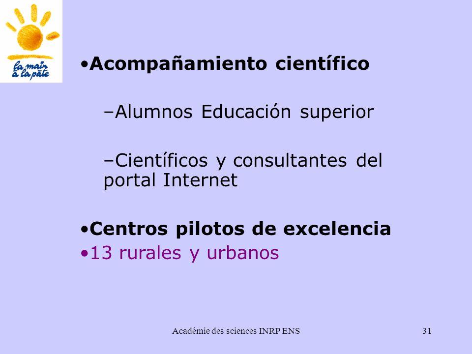 Académie des sciences INRP ENS31 Acompañamiento científico –Alumnos Educación superior –Científicos y consultantes del portal Internet Centros pilotos de excelencia 13 rurales y urbanos