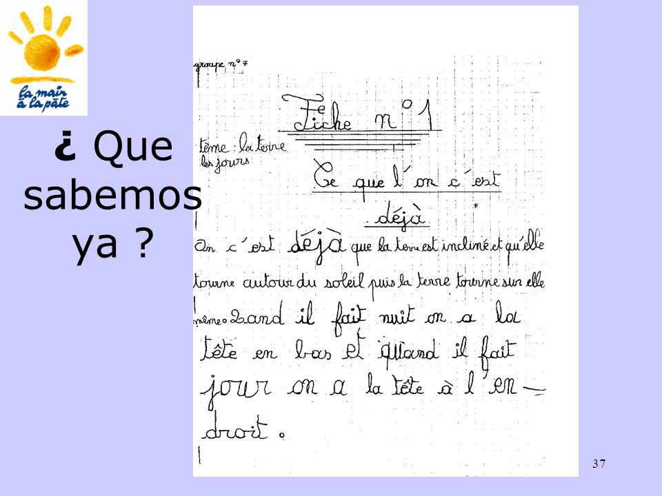 Académie des sciences INRP ENS37 ¿ Que sabemos ya