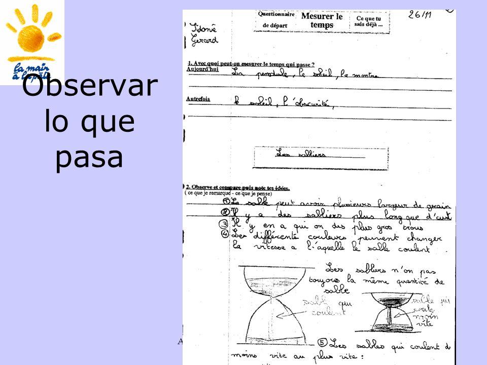 Académie des sciences INRP ENS40 Observar lo que pasa