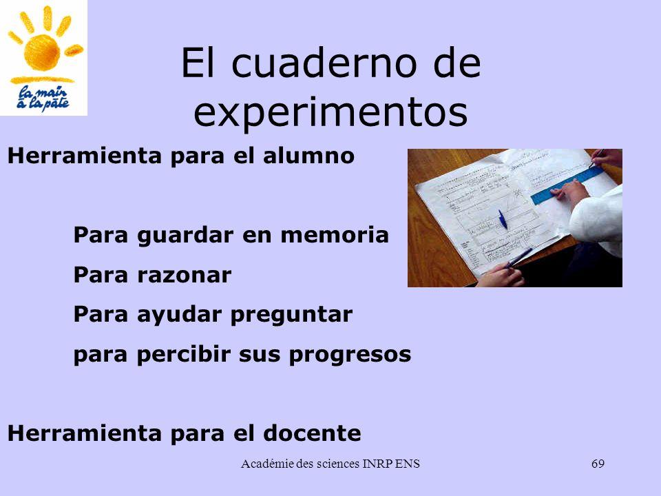 Académie des sciences INRP ENS69 El cuaderno de experimentos Herramienta para el alumno Para guardar en memoria Para razonar Para ayudar preguntar para percibir sus progresos Herramienta para el docente